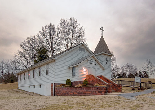 Saint Michael Roman Catholic Church, in Beltrees, Illinois, USA - exterior at dusk