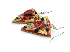 Ham & Mushroom Pizza Earrings (weggart) Tags: cheese mushrooms miniature handmade ham pizza polymerclay fimo olives earrings minifood