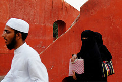 black and white? (Sayantan Bera) Tags: red people woman india white black color delhi islam religion hijab explore niqab burqa sayantanbera