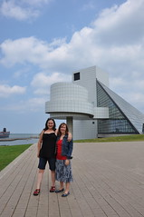 Sarah and Alison in front of Rock and Roll Hall of Fame