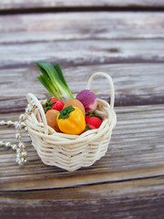 Vegetables Basket Pendant (Shay Aaron) Tags: food tomato pepper miniature necklace basket post handmade aaron fake mini jewelry ring polymerclay fimo potato tiny faux shay earrings veggies veg leek studs geekery jewel petit          shayaaron wearablefood