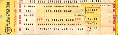 Grateful Dead, 6/17/76 Capitol Theatre, Passaic, New Jersey