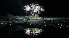 Fireworks over Jkulsrln (Elsa Prinsessa) Tags: ice nature night dark lights iceland fireworks explore frontpage icebergs jkulsrln glacierlagoon vatnajkull flugeldar abigfave elsaprinsessa goldstaraward elsabjrgmagnsdttir