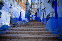 Morocco-090601-088 (Kelly Cheng) Tags: africa street travel people house man color colour building male men heritage tourism sunshine horizontal architecture stairs landscape daylight alley colorful day doors village outdoor culture vivid sunny nobody nopeople morocco lane medina chaouen colourful copyspace persons chefchaouen traveldestinations rifmountains varnishingpoint pickbykc