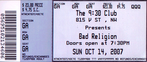 20071014 - Bad Religion ticket stub