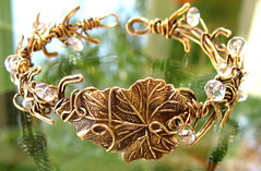 First Frost of Winter (tangocatgems1) Tags: botanical leaf crystal vine cuff brass twigs antiqued tangocatgems wirewrapeed