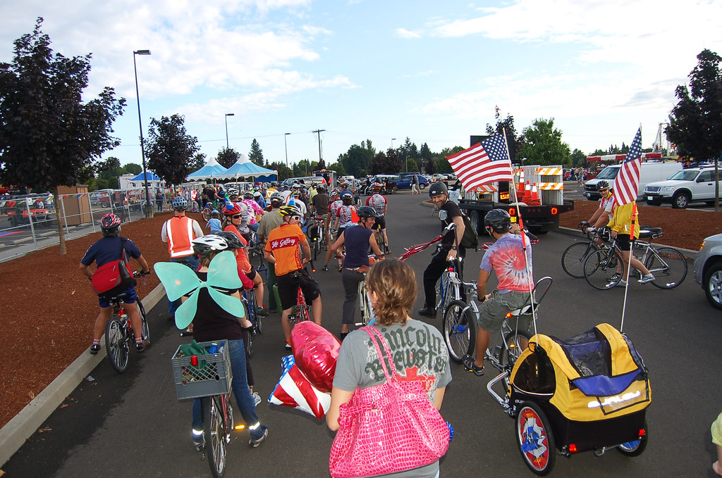 The bike parade moving out from the fairgrounds.
