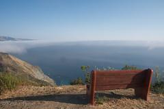 Along the CA Coast 25 (Kenna Elizabeth) Tags: ocean california ca sea cloud mist mountain beach water fog bench coast foster pch hermitage overlook pacificcoast kenna
