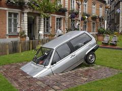 """Boulogne-sur-Mer: """"Voiture contre Nature"""" (harry_nl) Tags: france art nature against car volkswagen voiture polo 2009 contre boulognesurmer"""