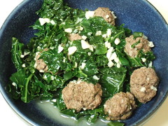 Kale with Mini Buffalo Meatballs