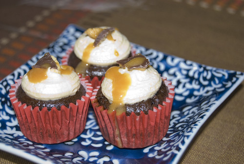Chocolate Mud MiniCupcakes with Caramel Buttercream violet crumble pieces and caramel sauce  - Happy HomeMade Cupcakes