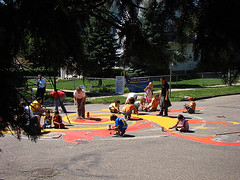 Painting the Sun (MJI Photos (Mary J. I.)) Tags: street girls boy people orange sun streetart boys public girl minnesota st yellow painting children stars spiral star parents solar fry community mural paint sitting child sittingdown small group working young stpaul murals ground down neighborhood parent together blair intersection swirls publicart twincities activity midway saintpaul adults mn flares activities hamline streetpainting lafond paintthepavement hamlinemidwaycoalition
