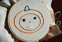 Fall Costume Kids (wildolive) Tags: autumn fall face pumpkin kid embroidery stitching wildolive