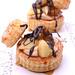Vol au Vent w/ caramel pears, praline cream & chocolate sauce
