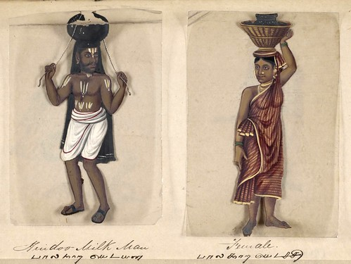 020-Vendedor de leche hindú y su mujer-Seventy two specimens of castes in India 1837