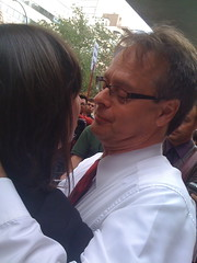 "Marc Emery hugs his ""drug war widow"" Jodie Emery"