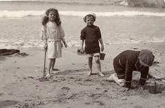 Edwardian children on the beach at Newquay (lovedaylemon) Tags: old sea holiday vintage found seaside bucket sand newquay cap photograph edwardian spade