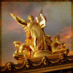 L'Harmonie (designldg) Tags: sunset sky sculpture music woman paris france heritage statue mystery clouds spectacular square photography gold evening opera colours dream culture atmosphere muse panasonic ethereal allegory iconography celestial operagarnier indiasong dmcfz18