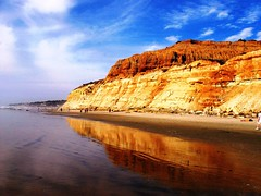 Beautiful California Coast, Ocean Reflections at Torrey Pines Beach , Try it LARGE! (moonjazz) Tags: ocean california park travel blue shadow wild sky people orange cliff usa cloud brown black west color colour reflection nature beauty yellow wonderful landscape mirror coast photo high twins pacific torreypines sandiego earth walk scenic science hike double best erosion linda tall geology preserve steep califronia waterscape earthscience torreypinesstatepark westernextreme
