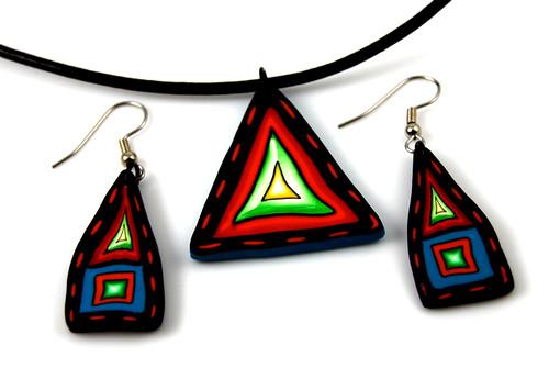 Red Triangle Jewelry Set