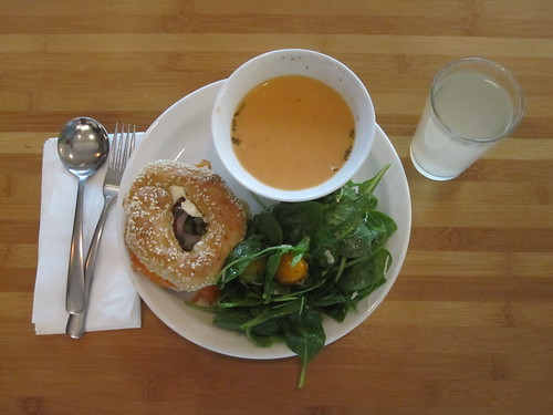 Tomato soup, sala, bagel with salmon and cream cheese, lemonade - $6