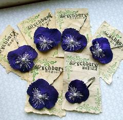 Custom Midnight Pansy set (Wychbury Designs) Tags: uk flowers blue wedding england flower hair handmade clip bridesmaids midnight bobby etsy bridal pansies embroidered beaded bobbies bobbypins accessory folksy violas wychbury