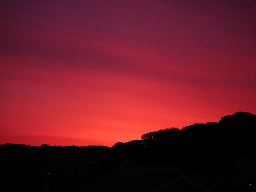 Scarlet sky in May