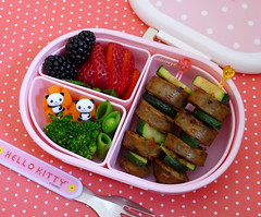 Sausage Skewers Bento (sherimiya ) Tags: kid strawberry sheri sausage broccoli bento carrots preschool zucchini blackberries obento skewers peapods sherimiya