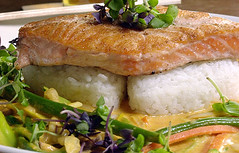 Salmon With Spicy Thai Coconut Curry Sauce - from Five Seasons Brewing Co.