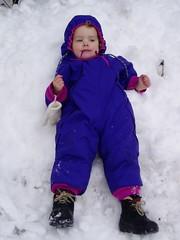 Pre Snow Angel (miriamjoyce) Tags: snow nadia snowsuit