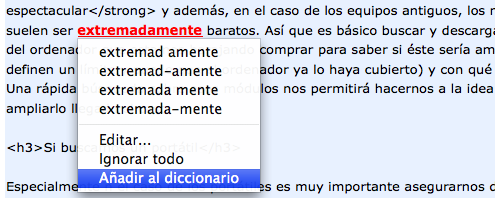 Corrector ortográfico de Google incapaz de comprender la palabra extremadamente