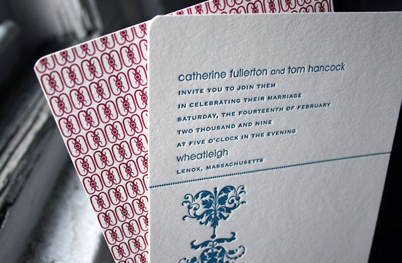 Cavall letterpress wedding invitation - cool red pattern! - by Smock