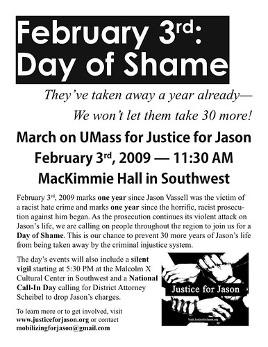 Justice For Jason Feb 3rd March On UMass Flyer