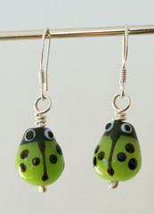 Green Ladybird earrings