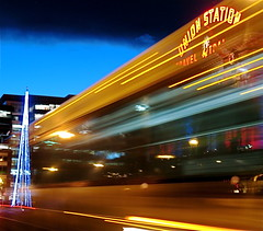 Warp Drive at Union Station (TVGuy) Tags: christmas street xmas bus station canon downtown union denver unionstation denverco