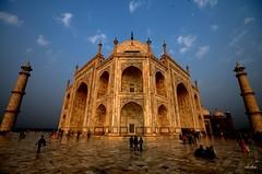 Taj Mahal Wide (Tulna) Tags: blue people india nikon wide cream sigma taj mahal tajmahal agra wideangle carving dome marble 2008 turrets intricate d300 sigma1020mm iksha snaptweet