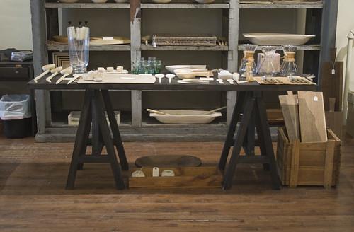 wooden trestle table, sumi finish