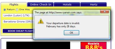 Ryanair error message