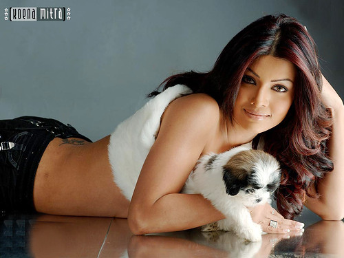Koena Mitra and her pet dog - wallpaper