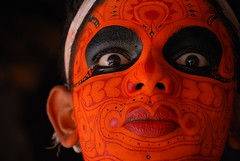 Facial artwork of Theyyam (sreenisreedharan) Tags: red portrait people india face closeup kerala malabar d60 godsowncountry theyyam vishnumoorthy