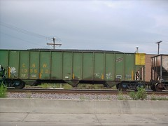 A former Chicago & NorthWestern Railroad coal hopper in transit. Chicago Illinois. August 2007.
