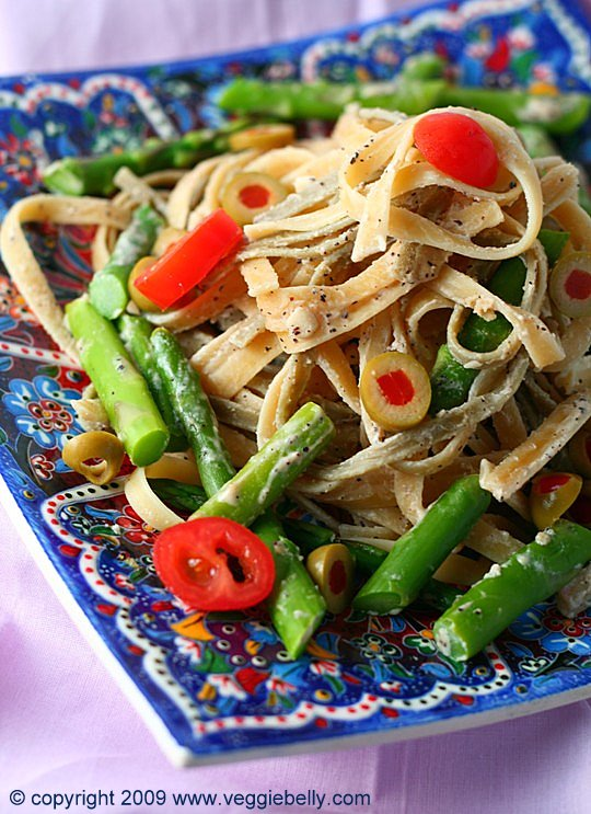 Fettucine and Asparagus in Tahini Sumac sauce