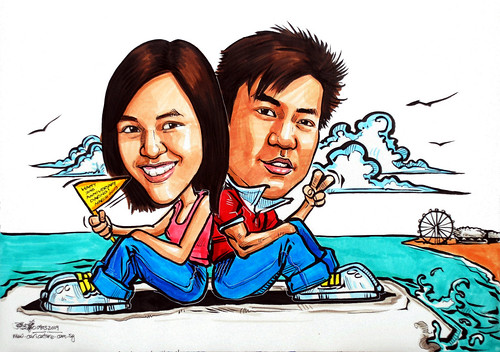 Couple caricatures at wave breaker