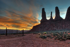 Monument Valley - 3 Sisters (mojo2u) Tags: sunset arizona southwest utah desert redrock monumentvalley hdr monoliths 3sisters navajotribalpark photomatrix nikon1855mm nikond80 goldstaraward