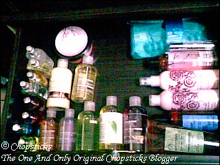 Drawer of The Body Shop products