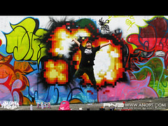 Pixel Bomb ANO (ANO___) Tags: game wall graffiti pixel   bomb ano