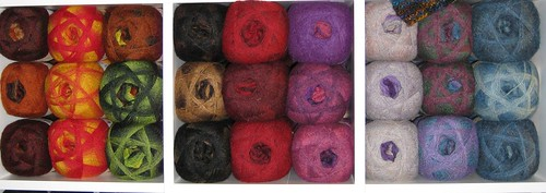 Nine Colours of the Kauni!  Look how they stripe!