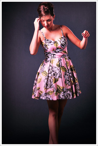 Pink Floral Dress against a Dark Background; Studio Look Book Photography