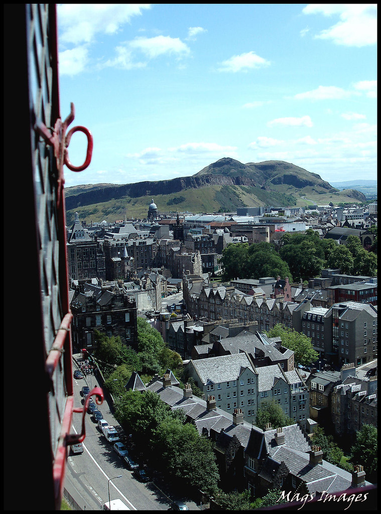 View of Arthurs Seat from the Scottish Royal Apartments in Edinburgh Castle