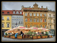 Old Town Male Namesti, Prague (Mike G. K.) Tags: street windows people brick colors car buildings square geotagged cafe prague cloudy overcast praha cobble czechrepublic umbrellas oldtown hdr photomatix 3exp malenamesti geo:lat=5008648 geo:lon=14419701